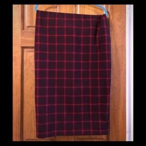 Old Navy Plaid Pencil Stretch Midi Work Skirt